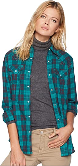Long Sleeve Plaid Snap Woven Shirt