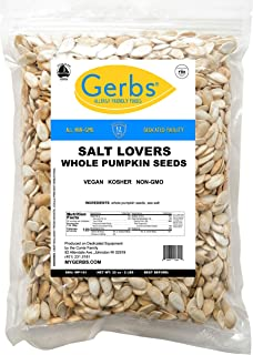 GERBS Extra Sea Salted Whole Pumpkin Seeds, 32 ounce Bag, Roasted, Top 14 Food Allergy Free, Non GMO, Vegan, Keto, Paleo F...