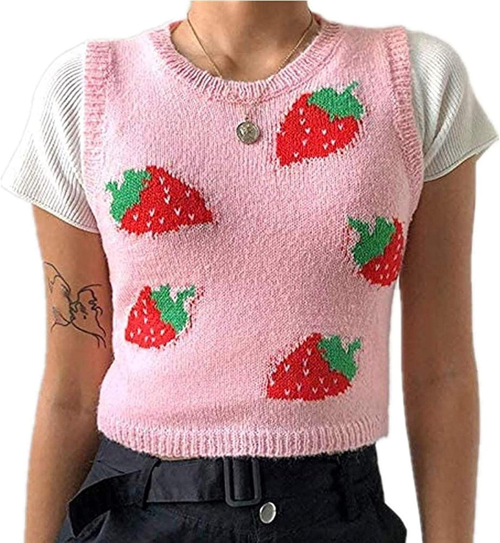 Women V-Neck Knit Tank Top Cropped Retro Vest Streetwear Sweater Crop Sweaters Autumn Preppy Style Tank Crop Top