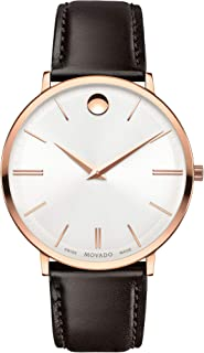 Movado Men's Ultra Slim Rose Gold Watch with a Printed Index Dial, Brown/Gold/White (Model 607089)