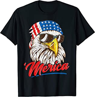 Bald Eagle Merica 80s Mullet Eagle America USA 4th of July T-Shirt