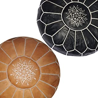 set of 2 Moroccan leather pouf, handmade ottoman poof for living room furniture and home decor, floor footstool hassock, boho round chair foot rest stool pouffe, Black and cognac Unstuffed