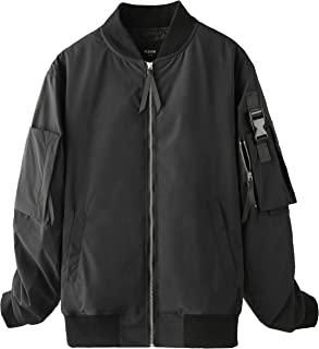 VIISHOW フライトジャケット 野球ジャケット 中綿ジャケット メンズ ブラック 暖かい 防寒 オーバー ファッション おしゃれ 刺繍