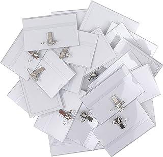 Belle Vous Porte Badge Plastique Horizontal à Pince (Lot de 50) - 9 x 6 cm - Badge Infirmiere, Ecoles, Entreprises, Confér...