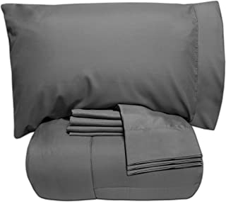 Sweet Home Collection 7 Piece Bed-In-A-Bag Solid Color Comforter & Sheet Set, Full, Gray,