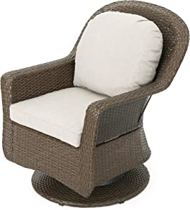 Linsten Outdoor Brown Wicker Swivel Club Chairs with Ceramic Grey Water Resistant Cushions (Set of 2)