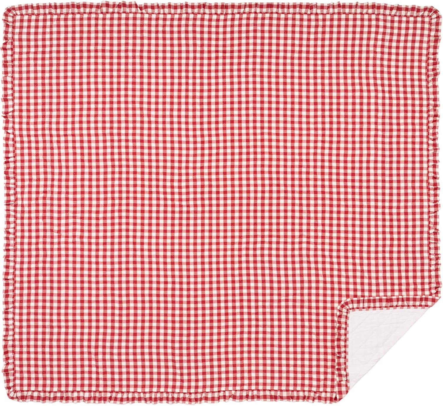 VHC Brands Farmhouse Bedding Annie Cotton Pre-Washed Buffalo Check King Coverlet, Red Country