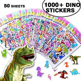 1000+ Bulk Dinosaur Stickers for Kids Boys Girls Toddlers Teens,Teacher Boy Reward Stickers Prizes,Dinosaur Themed Birthday Party Favors Supplies, Dinosaur Favor Bags Hats Goody Gift Bags Boxes
