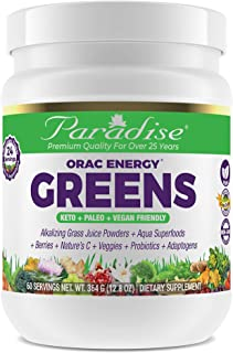 Paradise Herbs - ORAC Energy Greens - Keto + Paleo + Vegan Friendly Green Superfood - 12.8 Ounce 60 Servings