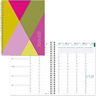 BLUELINE Weekly Academic Planner, July 2020 to July 2021, Twin-Wire Binding, Trilingual, Poly Cover, 11 X 8.5 Inches, Geom...