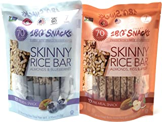 180 Smart Snacks Skinny Rice Bar Pre-Meal Snack Bundle of 2 Flavors: Blueberry & Apple