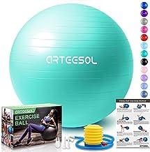 arteesol Balón de Ejercicio Anti-explosión, Pelota de Pilates 45cm/55cm/65cm/75cm/85cm Fitness Yoga Ball Estabilizador de balón de Equilibrio Resistente con Bomba rápida para Core Force