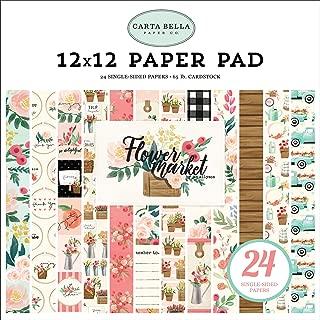 Carta Bella Paper Company CBMK96030 Flower Market 12X12 Pad Paper, Teal, Pink, tan, Green, Cream