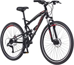 Schwinn S29 Dual-Suspension Mountain Bikes, Featuring 18-Inch/Medium and 20-Inch/Large Aluminum Frames, 29-Inch Wheels with Mechanical Disc Brakes, 21-Speed Shimano Drivetrain, Matte or Glossy Black (Renewed)