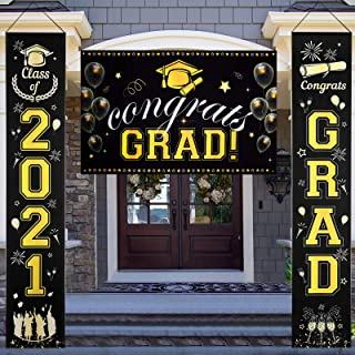 Graduation Banner and Porch Signs, Graduation Decorations- Class of 2021 Congrats Grad Banner Party Hanging Banner, Black ...