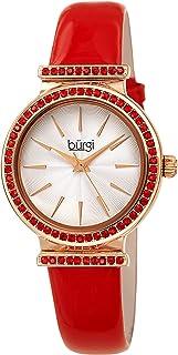 Burgi Swarovski Colored Crystal Studded Bezel - Genuine Patent Leather Strap, Fine Guilloche Pattern Dial Designer Women's Watch - BUR243