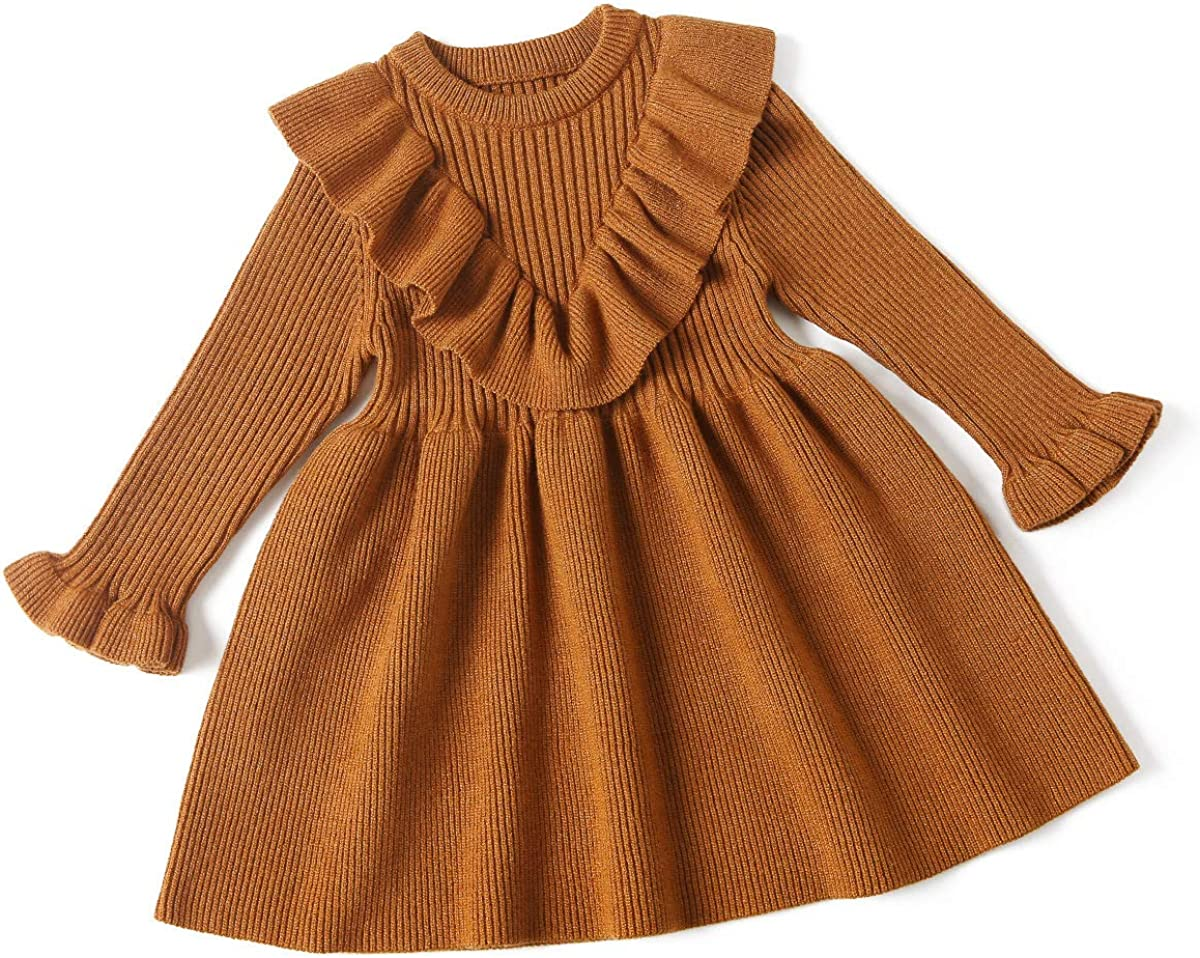 Curipeer Little Detroit Mall Girls' Long Sleeve Cozy Casual Spring new work Ribbed Knit