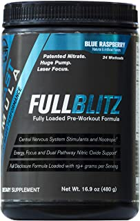 FULLBLITZ by Build Fast Formula | Fully Loaded Pre Workout | Energy Booster plus Nootropic Blend | Nitric Oxide Boosting Supplement for Increased Energy, Focus, and Muscle Pump (Blue Raspberry)