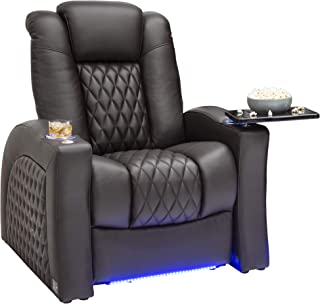 Seatcraft Stanza - Home Theater Seating - Power Recliner - Leather - Adjustable Powered Headrest and Lumbar Support - Lighted Cup Holders - USB Charging - Base Lighting - SoundShaker - Brown