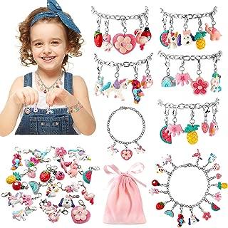 DIY Charm Bracelet Necklace Making Kit for Girls 24 Charms Unicorn Animal Fruit Fashion Jewelry for Kids