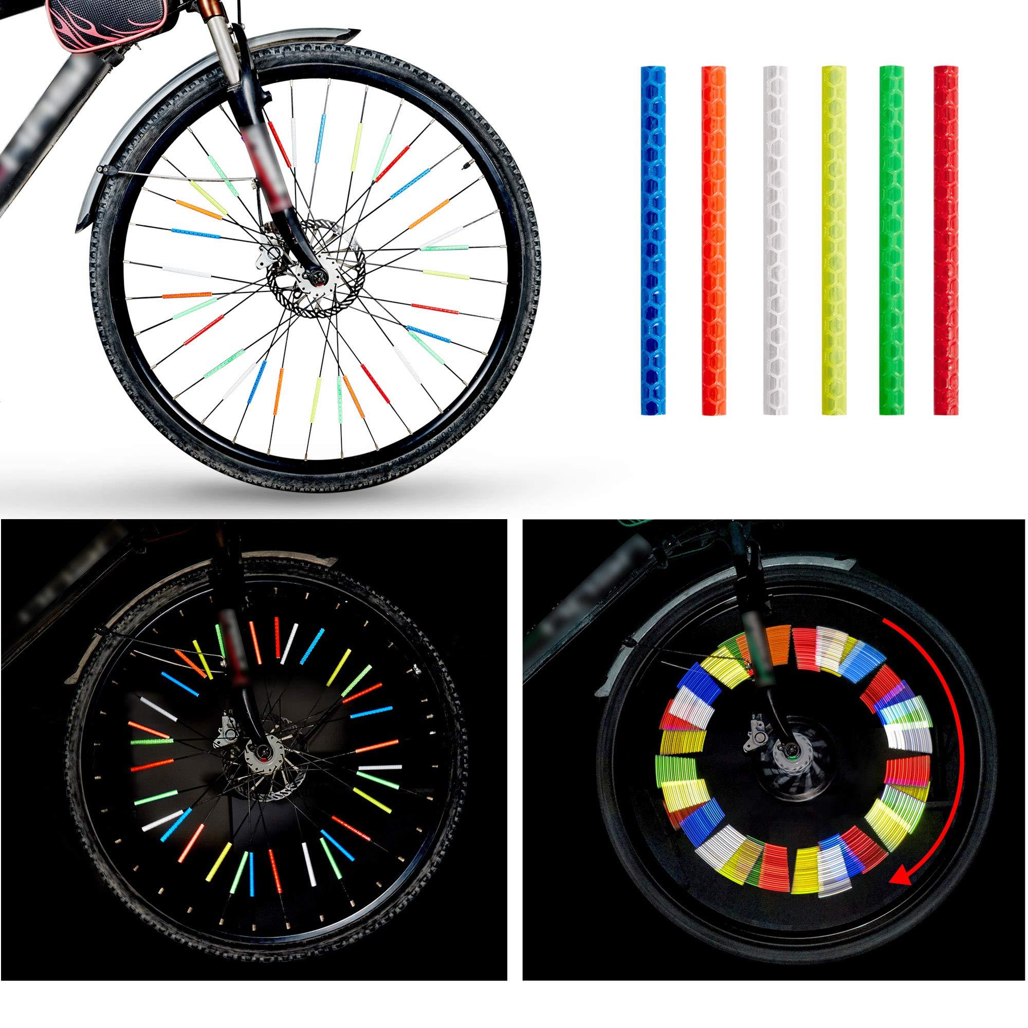 Bike Spoke Reflector Waterproof Riding Bicycle Wheel Reflector Reflective Mount Clip Tube Warning Strip Yunjiadodo 24PCS Bike Reflective Stickers Clips