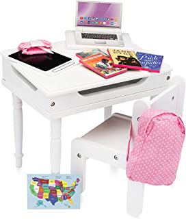 Playtime by Eimmie School Desk Set - 18 Inch Doll Furniture- Desk Toy with Accessories - 18 Doll Desk Toy Set - Classroom ...