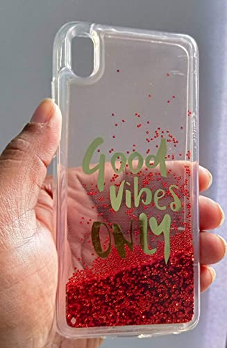 FancyArt Good Vibes Only Liquid Waterfall Bling Glitter Fancy Back Phone Case Cover for Vivo Y91i Multi Coloured Good Vibes