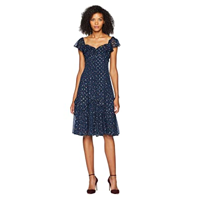 Rebecca Taylor Sleeveless Speckled Dot Dress (Navy Combo) Women