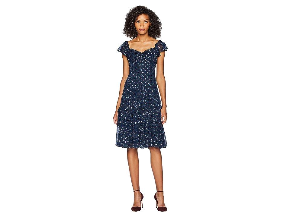 Rebecca Taylor Sleeveless Speckled Dot Dress (Navy Combo) Women