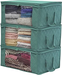 Sorbus Foldable Storage Bag Organizers, Large Clear Window & Carry Handles, Great for Clothes, Blankets, Closets, Bedrooms, and More (3-Pack, Teal)