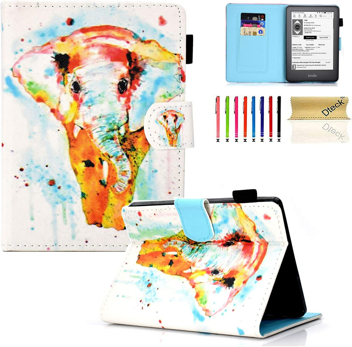 Kindle 10th Gen 2019 Case, Dteck Slim Fit Premium PU Leather Folio Case with Card Holder, Auto Wake/Sleep Smart Soft Back Cover for All-New Kindle 10th Generation 2019 Release, Color Elephant