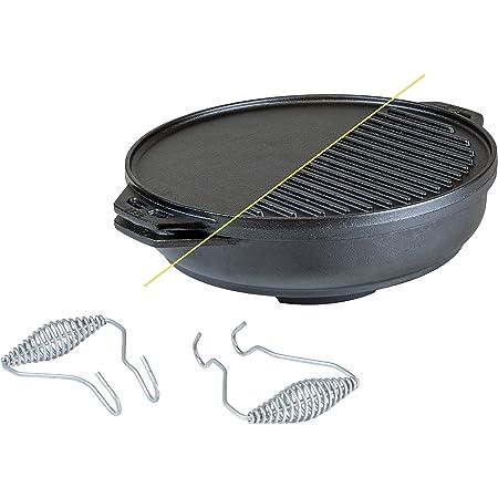 Lodge Kit de hierro fundido Cook-It-All de 5 piezas de hierro fundido incluye una parrilla reversible de 14 pulgadas, 6.8 cuartos de fondo/wok, dos ...