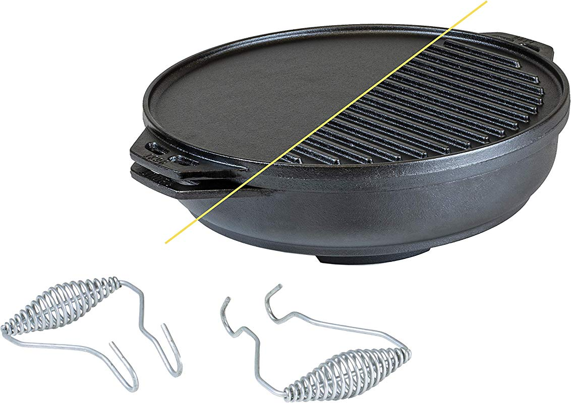 Lodge Cast Iron Cook It All Kit Five Piece Cast Iron Set Includes A Reversible Grill Griddle 14 Inch 6 8 Quart Bottom Wok Two Heavy Duty Handles And A Tips Tricks Booklet