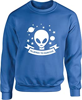 Hippowarehouse Allergic to Humans Unisex Jumper Sweatshirt Pullover (Specific Size Guide in Description)