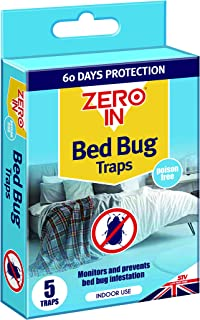 Zero In ZER967 Bed Bug Traps, Poison-Free Treatment, Bed Bug Detector and Killer, 2 Months Protection (Pack of 1), Multi, ...