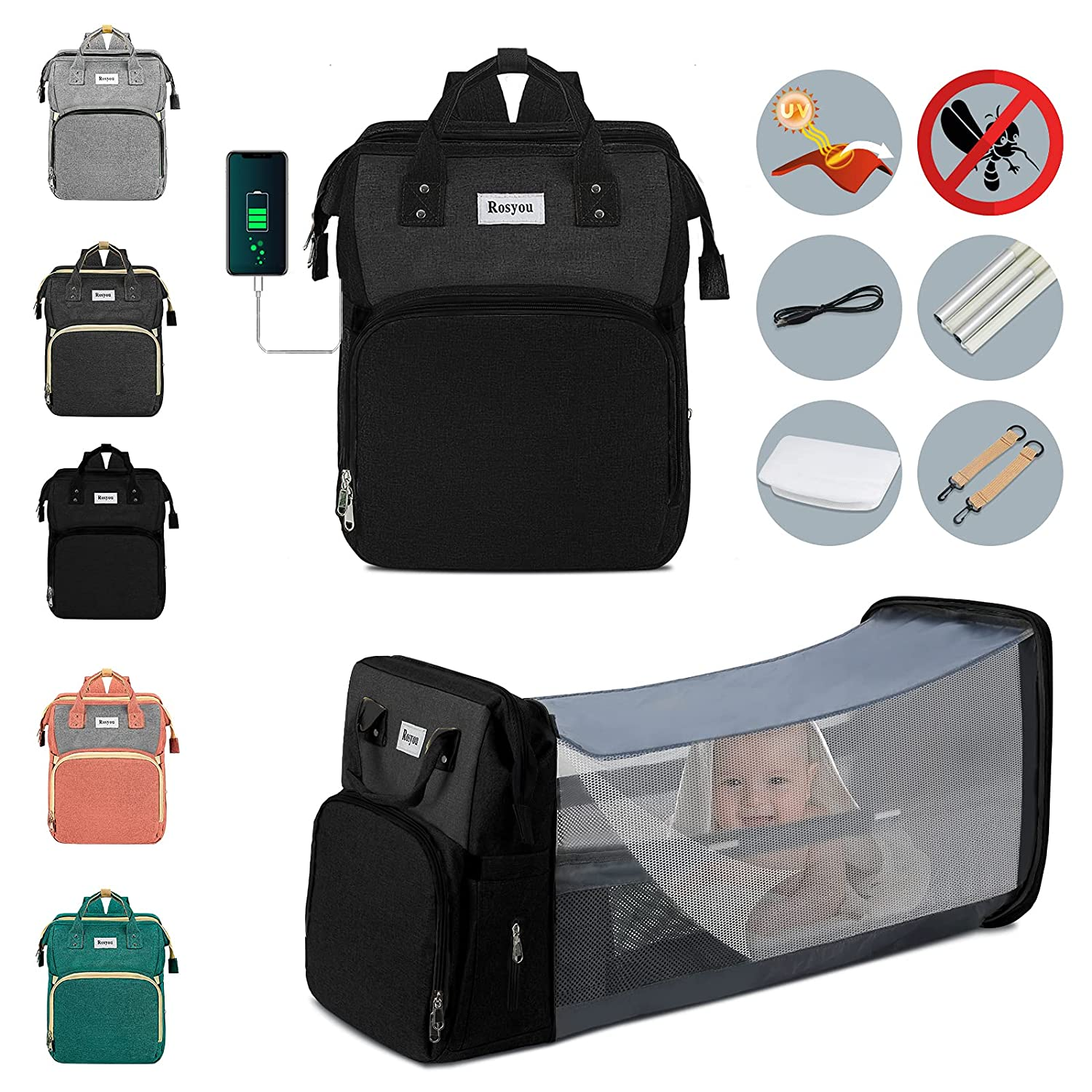 Diaper Bag Backpack, Multifunction Travel Baby Nappy Changing Bag for Dad Mom with Insulated Pockets, Mosquito Net, Changing Pad, Storller Straps, Maternity Baby Bag for Boys Girls (Black Grey)