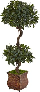 Nearly Natural 4.5' Sweet Bay Double Topiary Artificial Tree, Green