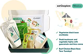Eat2Explore Explore Mexico Food Box – Essential Spice/Sauce/Grain Mixes from Mexico/Box Includes 3 Kid-Friendly Recipes, Shopping List for Fresh Ingredients and Cooking Tools/Great Family Activity