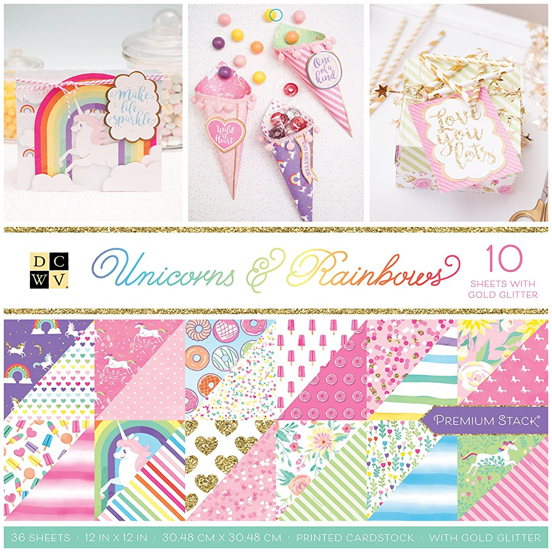 DCWV PS-005-00634 Unicorns & Rainbows Paper Stack, Multicolor