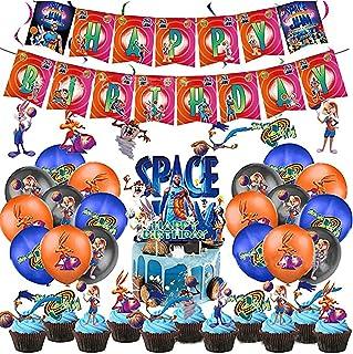 64 Stks Space-Jam een Legacy Party Supplies, Inclusief Space Jam Banner Cake Topper Ballonnen voor Betekenisvolle Verjaardag