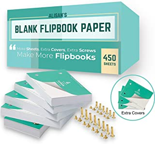 Blank Flip Book Paper with Binding Screws for Holes on Side, 450 Sheets (900 Flipbook Pages) 4.5 x 3 Inch, for Animation Sketch, Drawing Comic Books, Art Supplies Kit for Kids : Works with Light Pad