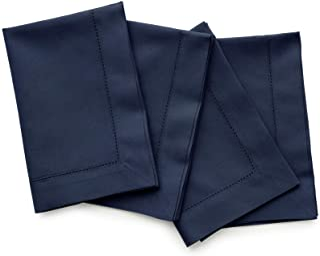 Solino Home Hemstitch Cotton Linen Dinner Napkins - Set of 4, 20 x 20 Inch Navy Natural Fabric - Machine Washable Handcraf...