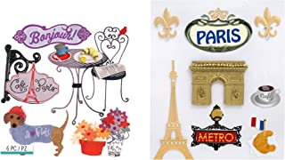 Paris Themed Scrapbook Stickers   French Theme Dimensional Stickers for Travel Journal, Scrapbooking, Vacation Photo Albums, Travel Stub Diary, Trip Themed Journal