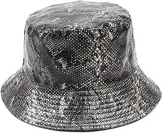 Snakeskin Print Bucket Hat Trendy PU Fisherman Hats Unisex Reversible Packable Cap