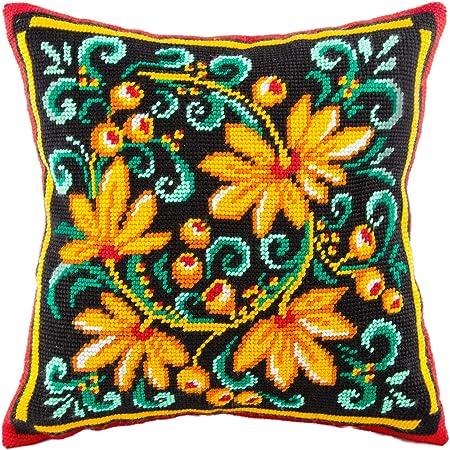 European Quality Printed Tapestry Canvas Khokhloma Needlepoint Kit Throw Pillow 16/×16 Inches