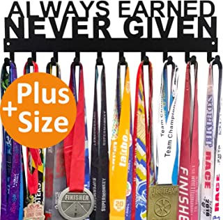 Miayork Medal Holder Display Hanger Rack Frame - Sturdy Wall Mount Medals Easy to Install-Always Earned Never Given with 10PCS Hooks-Black Color with Box Package