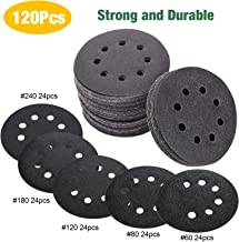 TECCPO 120Pcs 125mm Sanding Discs,125sic Sandpaper 60/80/120/180/240 Grits Hook Silicon carbide sandpaper use for Polishing and DIY - TASP25A
