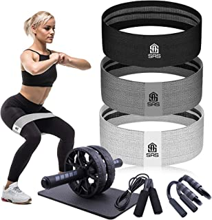 Resistance band set for Men and Women for Ab toning and sculpting   Premium Quality Ab Wheel Kit with Fabric Resistance Ba...