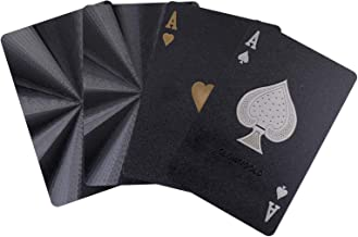 Weensmeil Waterproof Playing Cards Novelty, 52+2 Black Diamond Plastic Poker Cards Deck - Classic Magic Tricks Tool for Party and Table Game (HD, 1 Black)