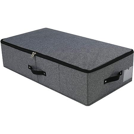 Boîte de rangement pliable sous le lit avec poignées, couvercle à fermeture éclair, couvertures Vêtements Couettes Organisateur de bac de rangement pour placard de chambre, 74,5×38×18cm, noir gris
